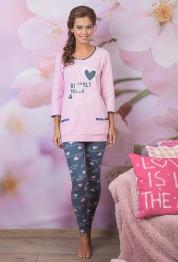 "728 Пижама женская ""Cleo"" розовый, темно-серый"