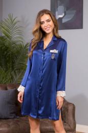 """15114 Рубашка шелковая """"Kristy"""" blue"""