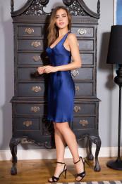 """15111 Сорочка шелковая """"Kristy"""" blue"""