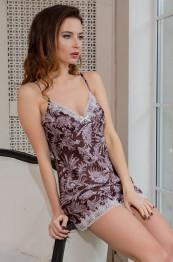 "3082 Пижама шелковая ""Evita""  choco"