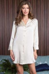 "15146 Рубашка-халат шелковая ""Rosemary"" milk"