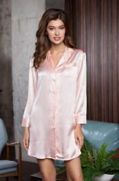 """15146 Рубашка-халат шелковая """"Rosemary"""" pudra"""