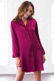 "15146 Рубашка-халат шелковая ""Rosemary"" cherry"