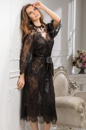 "2033 Халатик кружевной длинный ""Chanel"" black"