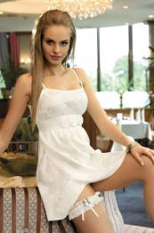 """5804 Сорочка шелковая с подвязкой """"Belle"""" white"""