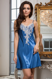 "3190 Сорочка шелковая ""Chantal"" blue"