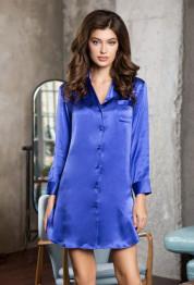 "15146 Рубашка-халат шелковая ""Rosemary"" blue"